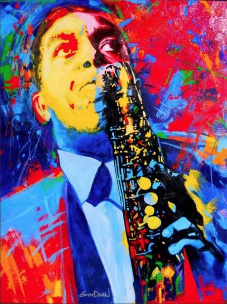 Painting of Charlie Parker done in primary colors